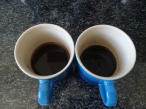 The cup on the left was made with coffee bought in the supermarket. It was more watery because the coffee was not ground finely enough. The cup on the right, which looks stronger, was made with the coffee supplied by Coffee Pod Guru.